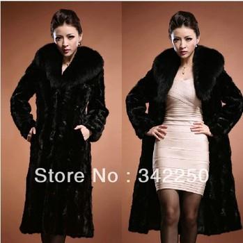 Russia Winter 2013 New Arrival Women Faux  Mink Fur  Overcoat, Big Fur Collar, Luxurious Fur Coat