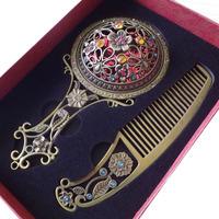 1set Bronze handle Mirror Princess hollow mirror with comb mirror comb suit