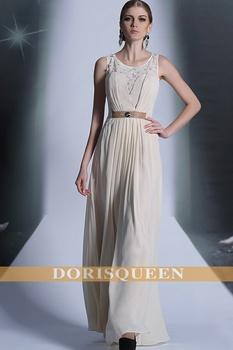 DORISQUEEN free shipping fast ship new A-line ruffle cheap floor length original design hollow out long evening dresses 2014