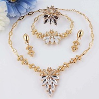 New 18k Yellow Gold Filled White Sapphire Clear Austrian Crystal Necklace Bracelet Earring Ring Jewelry Set