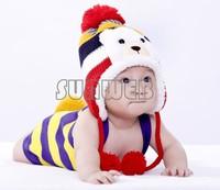 Colorful Stripe Pattern Cartoon Bear Design Thicken Crochet Kids Winter Caps Baby Warm Hats B22 18569