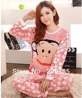 The big monkey female sleep wear set for winter hot sale silk long sleeve pajamas night wear clothes home lounge set robe sale