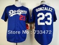 Free shipping Men's Baseball Jerseys Los Angeles Dodgers #23 Adrian Gonzalez Blue White Gray cool base Jersey Factory Price