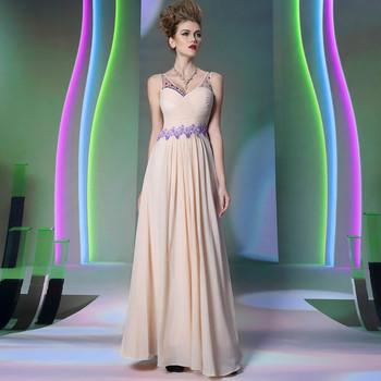Free shipping DORISQUEEN sexy floor length ruffle new design appliques V neck pink long evening dress 2014 new arrival 30898