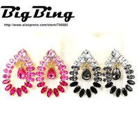 BigBing Fashion jewelry accessories fashion luxury full rhinestone fashion paragraph of drop stud earring  Free shipping  G092