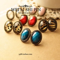Free shipping! sexy small vintage leopard print small oval stud earring bijoux women earings fashion 2014 wholesale
