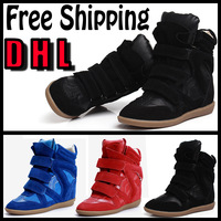 Free Shipping by DHL Isabel Marant Shoes Ladies new 2014 Fashion High shoes women Height Increasing Casual Sneakers for women