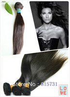 """Queen-Hair 3pcs/lot Grade 5A Unprocessed Brazilian Virgin Silky Straight Human Hair Extensions Weave Wefts 12""""-30""""-Unprocessed"""