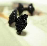 0297 Free shipping New arrival full crystal cute bowknot stud earrings for lady