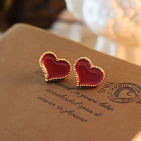 0567 Min. order $10 (mix order) Free shipping New arrival loving heart golden edge stud earrings for women