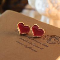 JM 0188 Free shipping New arrival loving heart golden edge stud earrings for lady
