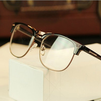 Fashion Retro Vintage Men Women Unisex Metal Big Frame Eyeglasses Clear Lens Nerd Geek Glasses Wholesale Free Shipping