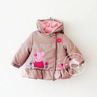Retail 2014 New Arrival baby girls Peppa Pig winter coats hoodi girls outerwear fleece jacket baby brand clothing christmas 1-5T