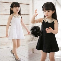 Free Shipping Baby Girls Sequins Collar Sleeveless Vest Princess Lace Dress Kids Dresses children's clothing, Retail & Wholesale