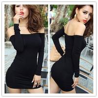 Newst Fashion Women's Dresses Black Off Shoulder Slash Neck Long Sleeve Ladies Sheath KTV Sexy Club Party Thin Mini Dress