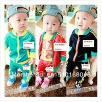 Retail Free shipping 2013 New Autumn Children's Sport Suits  Boys Velvet Suit Baby ZIP Coat + pants Kids Clothing Set