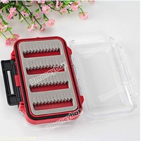 Top quality Freee Shipping Double-sided Open Plastic Fly Fishing Box Fishing Tackle Bait Case Set - Red and Transparent