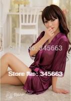 Sexy Women Ladies Open Front Solid Lingerie Set Robe Underwear Pyjamas Nightwear Soft Sleepwear Tong 4Colors Free Shipping