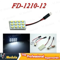 2X T10 BA9S C5W Festoon 3 Adapters 3528 12SMD car dome white Light 12V LED 3528 reading dome Panel Car interior light#YNL01