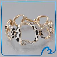 100% Fashion Brand New Bracelet Popular Vogue Enamel Leopard High Quality 18K Gold Plated Austrian Crystal Bracelets for Women