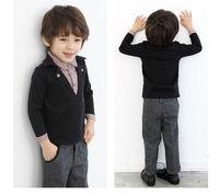 Retails!2013 New arrival Autumn false two lapel plaid kids clothing Cotton Turn-down Shirt ((BW-288))