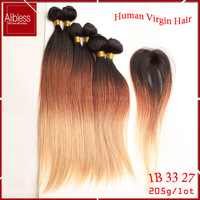 brazilian virgin hair body wave,6pcs lot with 1 gift closure,cheap 6a natural human hair can be dyed.queen ombre 3 color product
