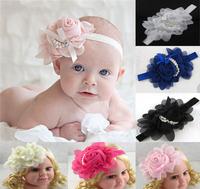 3pcs rose pearl chiffon flower child hair accessory hair band Baby Girl Elastic Flower Headband  Flower headwear