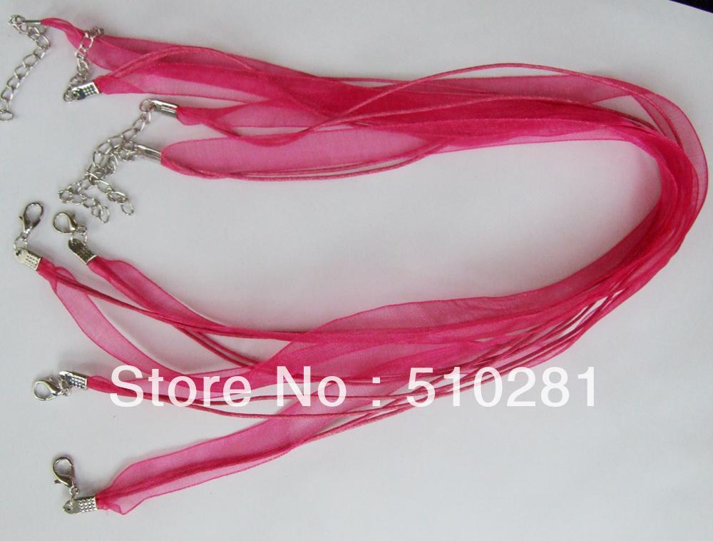 free shipping !!! 19''Organza  jewelry findings ,dark pink can choose more colour necklace cord with lobster clasp cord(China (Mainland))