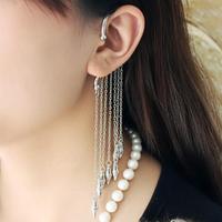 0586 Free shipping New arrival punk rivets long tassels drop earring for lady single sale