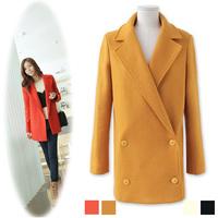 2013 Winter Autumn New Arrival European American OL Style Elegant Women clothes woolen blends Loose coat Windbreaker Jacket