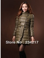 Free shipping  Winter women's wear double-breasted coats pure color warm coat, increase, sapphire, army green