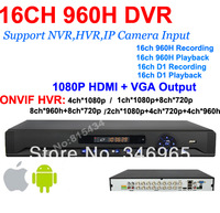 16channel DVR stand alone video recorder H.264 HDMI Output Full 960h Real time Recording Hybrid dvr NVR onvif 2.0  dvr recorder