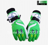 2015 neutral ski gloves womens full finger snowboard gloves skiing gloves unisex riding sports gloves green waterproof thermal