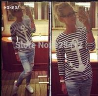 S-XXL new 2015 Striped women letter brand t-shirt women t shirts casual t shirt long sleeve women clothing roupas femininas