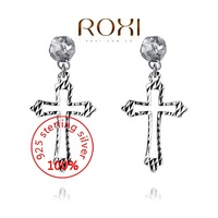 ROXI Sterling silver fine Jewelry 925 Silver AAA zircon Modelling Beauty Big Cross Earrings Wedding Christmas Gifts