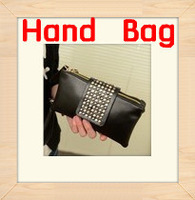 Free Shipping2013 new OL Korean fashion rivet clutch handbag vintage European American minimalist packet clutch bag female purse