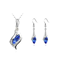 Wholesale 18K white gold plated ballet girl angel austria crystal women fashion earrings/necklace Jewelry Sets
