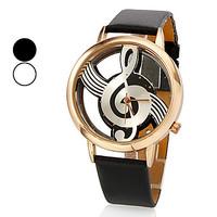 Unique creative Women's Quartz Analog Hollow Musical Note Style Dial PU Band Wrist Watch,new fashion,ladies  watch