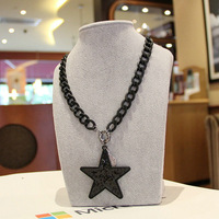Free Ship $15 Fashion Statement Vintage Punk Jewelry  Women Love Star Chunky Pendant Necklace A00287