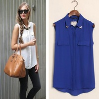 New 2013 Fashion Women Sexy Sequined Stud Collar Blouse Shirt Vintage Sleeveless Blouses Elegant Casual Brand Designer Tops