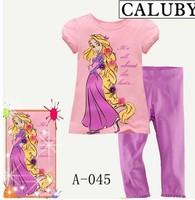 A-045 Boys Girls Sleepwear Children Cartoon Short Sleeve Pajamas Kids longhair princess Pyjamas ,