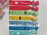FOE Free shipping 100pcs Letter Printed Fold Over Elastic Princess wristbands girl ponytail holder  Hair Ties Hair Accessories