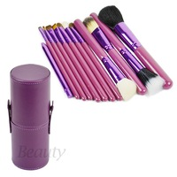 Promotion! 3set/Lot 12 pcs/Set Pro Cosmetic Makeup Brushes Set Make up Tool With Leather Cup Holder 4 color Wholesale 16475