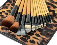Hot Fashion 12 PCS Professional Makeup Brush Set Eyebrow Pencil Lip Liner Leopard With Holder Bag 18518 b9