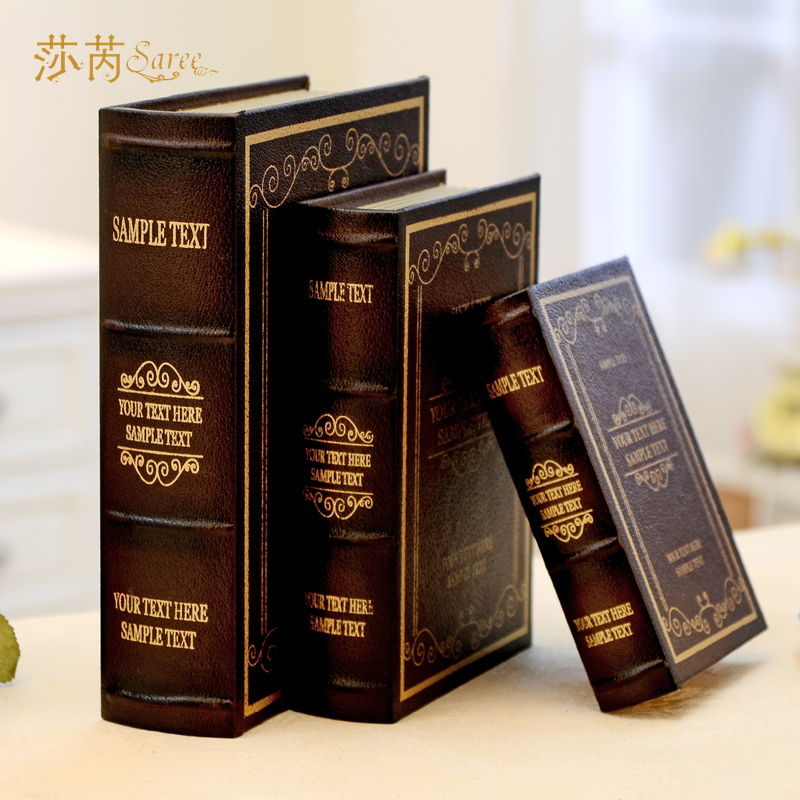 Home decor study bookcase Decorative book box 12*17*4 cm cabinet leather material 1 pcs/set decorative book Crafts(China (Mainland))