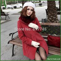 J005 Free Shipping Women Wool Coat 2013 New Korean Women Slim Woolen Fur Collar Wool Coats And Jackets