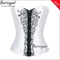 2014 New White Corset Flower Paisley Corselet Sexy bustier Women Fashion Satin corset top 20 bones Free Shipping S-2XL