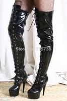 Hot Sale EXTREME Fetish 15cm Platform Heel Lace Up Thigh 60cm Shaft Black Patent leather Boots,SZ 35,36,37,38,39,40,41,42,43