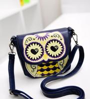 OWL Female handbags shoulder bag 2014 new fashion women small cartoon messenger casual shoulder mobile coin change wallet purse