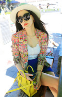 Free Shipping  Spring And Summer New Fashion Geometric Print Coat